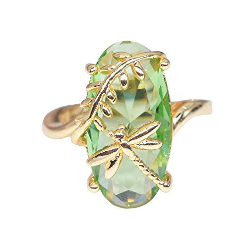 FEDULK Womens Light Luxury Rings Dragonfly Ring Natural Transparent Peridot Gemstone Wedding Promise Rings(Gold, 9)