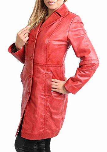 Mujer 3/4 de Longitud Suave de Cuero Clásico de largo Solo Pecho Abrigo Macey Rojo