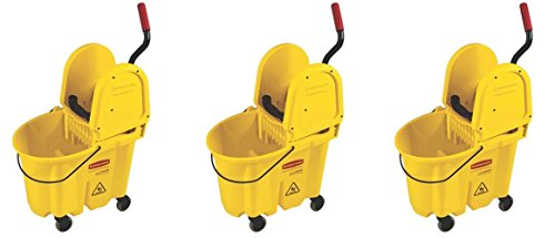 Rubbermaid Commercial 7577-88 WaveBrake 35-Quart Bucket/Wringer Combo, Yellow (3 PACK) by Rubbermaid Commercial Products