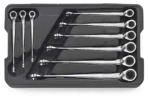 GEARWRENCH 85398 9 Piece Reversible X-Beam Combination Ratcheting Wrench Set SAE