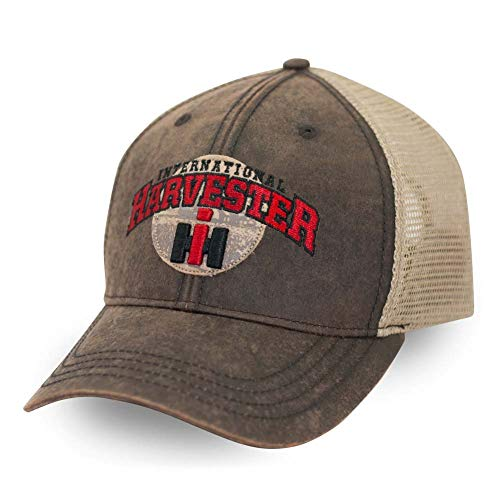 Case IH Washed Wax Cloth Embroidered Baseball Cap for Men with Filigree Mesh, One Size Fits All, Brown