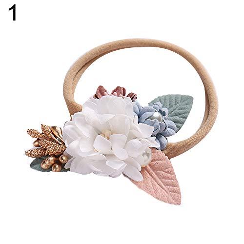 soAR9opeoF Headband Baby Kids Girl Flower Faux Pearl Elastic Hair Rope Tie Ponytail Holder Hairband - ()