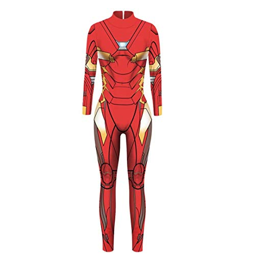 Adult Wowens Iron Man Super Hero Jumpsuit Cosplay Costumes Halloween Bodysuit Clothing]()