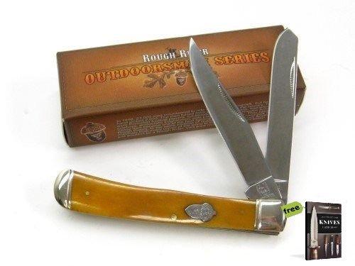 ROUGH RIDER Tobacco Bone TRAPPER 2 Carbon Steel Razor Sharp Blade Folder Pocket Folding Knife RR777 + Free eBook by SURVIVAL STEEL -