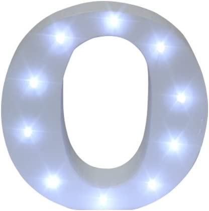 Royal Brands Decorative DIY LED Letter Light Sign - Light Up Wooden Alphabet Letter Battery Operated Party Wedding Marquee Décor - White (O)