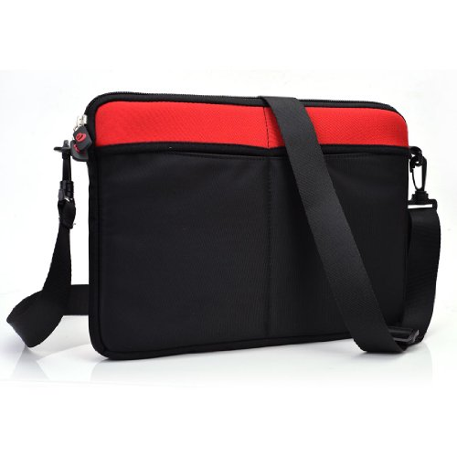Price comparison product image Exxist® Universal Messenger Travel Bag Sleeve Case with Shoulder Strap for Microsoft Surface RT 2 w/ Type Cover 1 | Surface RT 2 w/ Type Cover 2 (Color: Red)