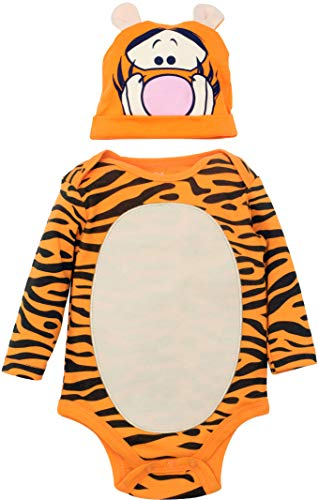 Disney Tigger Baby Boys' Costume Bodysuit with Hat Set, Orange 0-3 -