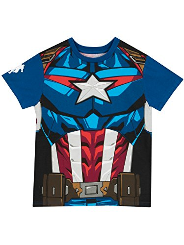 [Marvel Captain America Boys' Captain America T-Shirt Size 7 Navy] (Captain America Uniform)