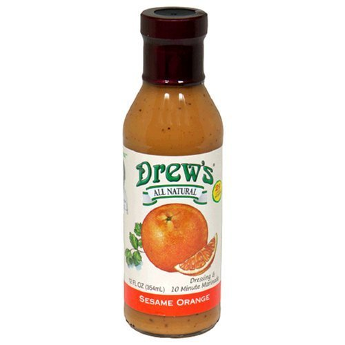 Drew's All-Natural Salad Dressing and 10 Minute Marinade, Sesame Orange, 12-Ounce Bottle by Drew's All Natural