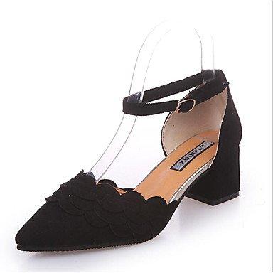 Zormey Tacones Mujer Primavera Verano Otoño Invierno Club Zapatos Zapatos Formales Ante La Oficina Exterior &Amp; Carrera Chunky Talón Hollow-Out Casual Hebilla Caminando US5 / EU35 / UK3 / CN34
