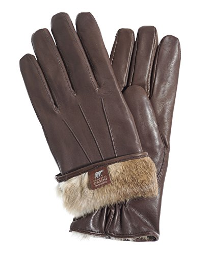 Fratelli Orsini Everyday Men's Our Bestselling Italian Rabbit Fur Gloves Size L Color Brown/Natural Fur ()