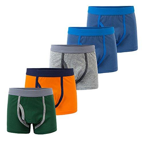 B.GKAKA Little Boys Boxer Briefs Comfortable Boys Cotton Underwear(Pack Of 5) Navy 2 Pack/Orange/Gray/Green M 8-9Yrs -