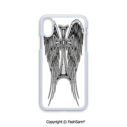 (Phone Case Compatible with iPhone X Black Edge Heraldic Wing and Cross Belief Ancient Symbol of Power Royalty Artistic Design 2D Print Hard Plastic Phone Case)