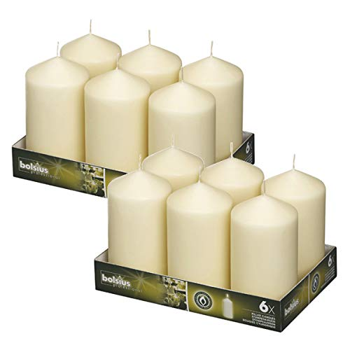 BOLSIUS, Set of 12 Ivory Pillar Candles3x6 – Unscented Restaurant Candles – Nice Wedding Candles – Set of Pillar Party Candles – Home & Party Decorations