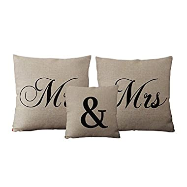 Custom Mr and Mrs Linen Pillow Set Unique Wedding Gift Idea Set of 3
