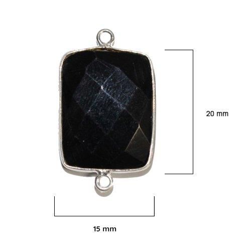 Black Onyx Bezel - Black Onyx - Black Onyx Stone - Black Onyx Beads - 2 Pcs Black Onyx Rectangle 15X20 mm Silver Bezel - Bezel Gemstone Pendant - Bezel Rectangle