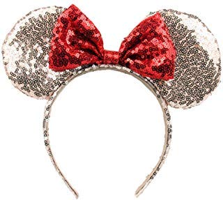 OBUY Minnie Ears, Minnie Mouse Ears,Adult red Ears,mice Ears Minnie Mouse Ears,Rainbow Minnie Mouse Ears, Sparkly Minnie Ears, Mouse Ears (Rose Golden)