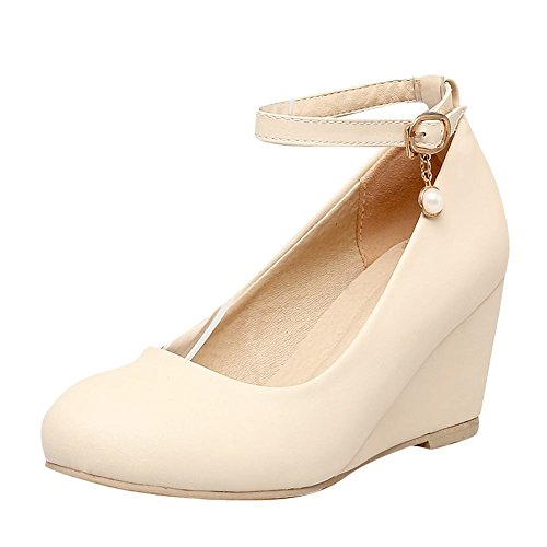 Mee Shoes Damen Keilabsatz ankle strap runde Pumps Beige