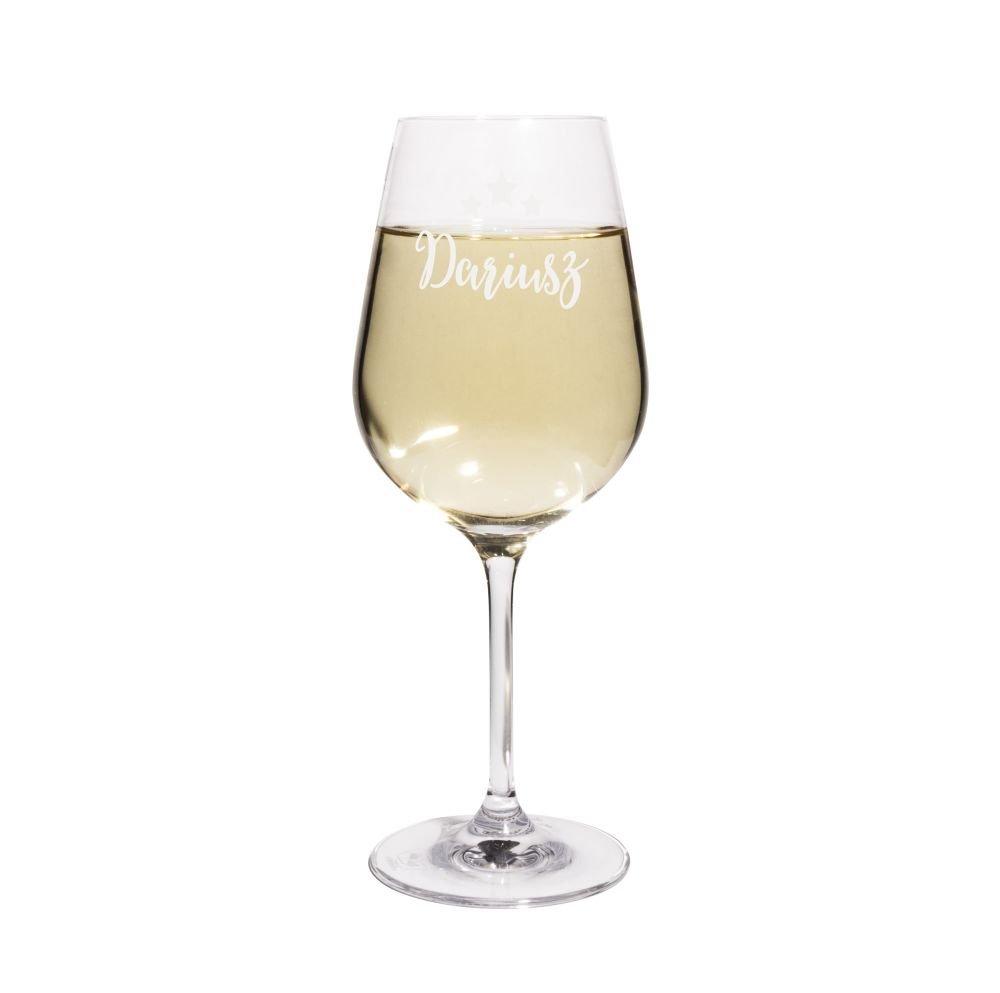 PrintPlanet® Weißweinglas mit Namen Dariusz graviert - Leonardo® Weinglas mit Gravur - Design Sterne