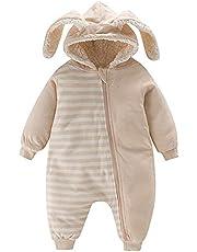 Simplee kids Unisex Baby huva vinter ytterkläder snödräkt nyfödd spädbarn varm fleece jumpsuit sparkdräkt