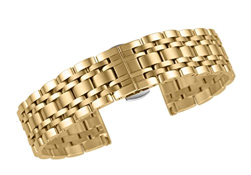 - autulet 20mm Deluxe Metal Link Wrist Watch Bracelets in Gold Solid Stainless Steel Folded Clasp Straight End