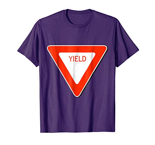 Mens Yield Sign Simple Easy Halloween Costume T-Shirt Large Purple -