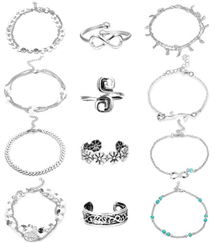 Ring Ankle Bracelet - Milacolato 12PCS Anklet and Toe Ring Set for Women Girls Adjustable Toe Rings Beach Ankle Bracelet Jewelry Silver