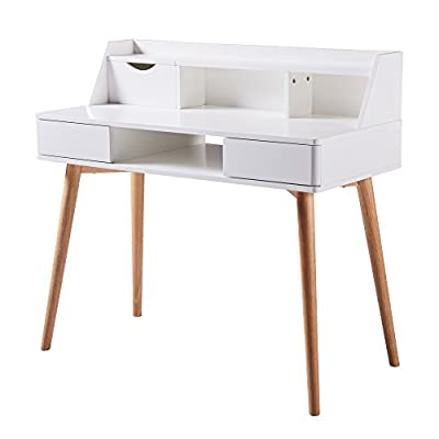 Versanora - Creativo Stylish Desk - White/Natural - MDF in white color Finish Solid wood Leg in natural Finish Two drawers and one storage space - writing-desks, living-room-furniture, living-room - 41W9 kTjx L. SS400  -