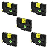 SuperInk 5PK Compatible for Brother HSe-611 HSe611 HS-611 HS611 Black on Yellow Heat Shrink Tube Label Tape use in Brother PT-E300 PT-E500 PT-E550W PT-P750WVP Printer (0.23''x 4.92ft, 5.8mm x 1.5m)