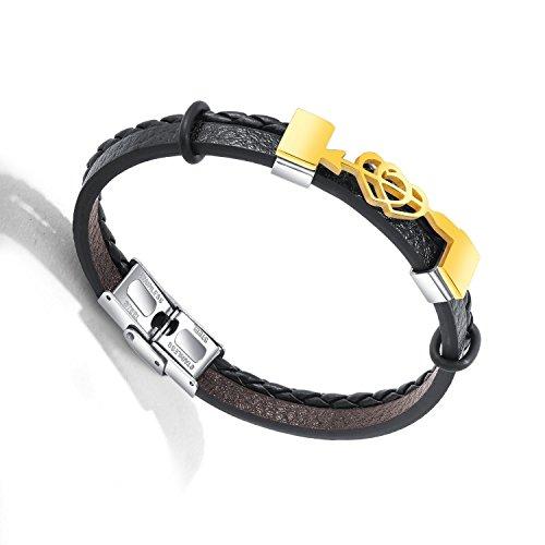 Royarebar Elegant Cosmetics Bracelet Fashion Men's Accessories Titanium Steel Multilayer Bracelet Arrow and Heart Bangle(Golden) ()