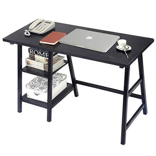 Price comparison product image Laptop Writing Table with Shelves Modern Trestle Desk Computer Desk Wood Black