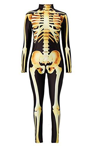 Idgreatim Womens Funny Halloween Gold Skeleton Printed Cosplay Costume High Neck Long Sleeve Catsuit Bodysuit Black L -