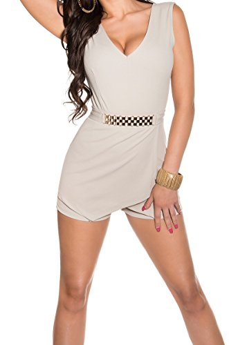 combinaison short habillé glamour dos nu beige femme 40