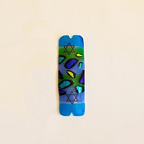 Handmade Fused Glass Art Mezuzah, Dichroic Fused Glass Mezuzah, Jewish Gift, Star of David Mezuzah, Blue and Green Spots Home Blessing