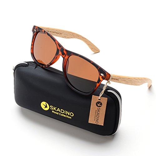 SKADINO Beech Wood Sunglasses for Women&Men with Polarized Lens Handmade Wooden Arms-Tortoise shell Brown - Handmade Sunglasses Wood