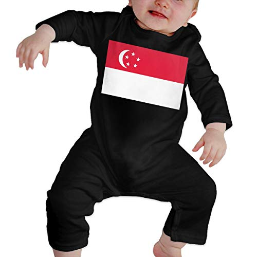 U99oi-9 Long Sleeve Cotton Rompers for Unisex Baby, Soft Singapore Flag Crawler Black