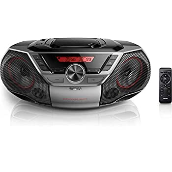 Image of Boomboxes Philips Portable Boombox CD Player Bluetooth FM Radio MP3 Mega Bass Reflex Stereo Sound System with NFC, 12W, USB Input, Headphone Jack, and LCD Display