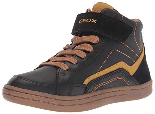 Geox Boys' Jr Garcia C Hi-Top Trainers, (Black/Dk Yellow C9241), 1 UK Child ()