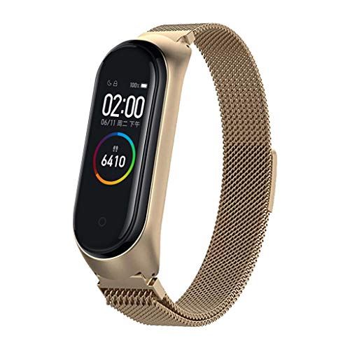 OutTop(TM) for Xiaomi Mi Band 4 Milanese Magnetic Stainless Steel Watch Band Strap + Film Watch Band Long 180mm (Coffee)]()