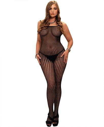 Leg Avenue 8300Q Women's Seamless Crochet Net Bodystocking - Black - Plus Size