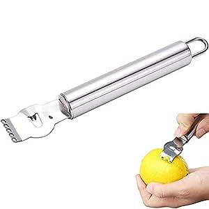 BESTEU Rallador Profesional de la ralladura de limón del Acero Inoxidable con el Cuchillo del Canal y el Lazo Colgante