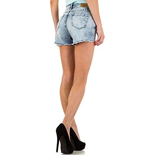 Destroyed High Waist Jeans Shorts Für Damen , Blau In Gr. 40/L bei Ital-Design