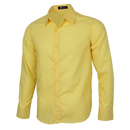 Homyl Men Luxury Shirt Business Work Office Wear Smart Button up Long Sleeves Formal Casual Plain Dress Shirts L - 2XL - Yellow, L