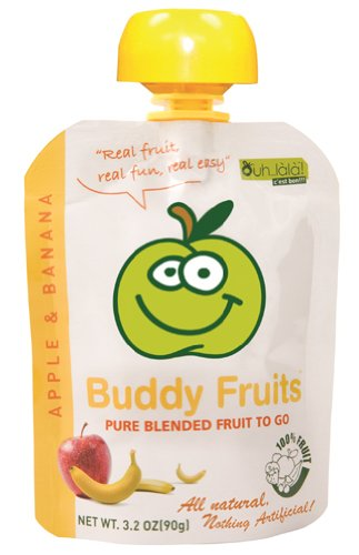 Buddy Fruits Pure Blended Apple and Banana Fruit To Go - Pouch, 3.2 Ounce -- 18 cartons.