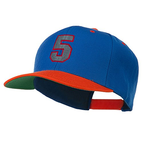 (Athletic Number 5 Embroidered Classic Two Tone Cap - Royal Orange OSFM)