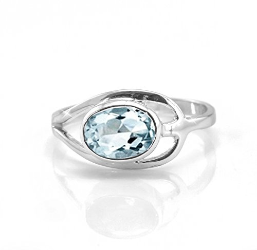 925 Sterling Silver Blue Aquamarine Ring Oval Solitaire Size 5 6 7 8 9 10 11 House of Gems (Oval Aquamarine Solitaire)