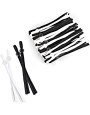Elastic Cord for Masks Sewing Elastic Cord Bands String with Adjustable Buckle 1/5 Inch 5 mm Flat Elastic Earmuff Rope Elastic Strap Heavy Stretchy High Elasticity Knit Crafts DIY Face Mask Earloop Lanyard (25Black+25White)