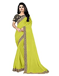 Minpoz Most Selling Romantic Georgette Sequence and Thread Work Saree with Designer Blouse Party wear Sarees for Women (Parrot Green)