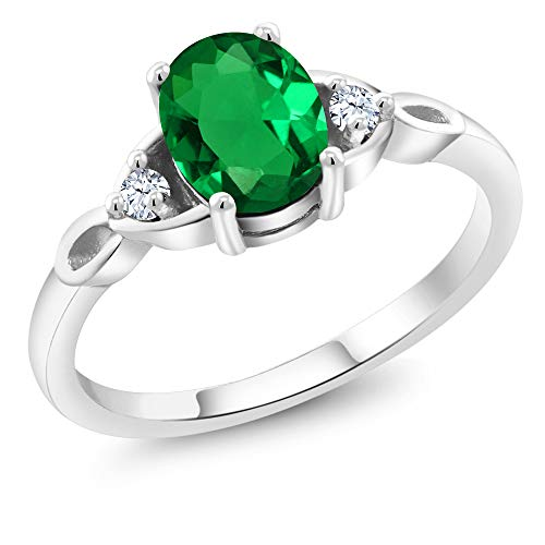 1.08 Ct Oval Green Simulated Emerald White Created Sapphire 925 Sterling Silver Three Stone Ring (Size 7)
