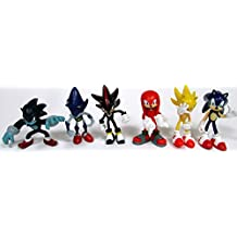 """SONIC 6 Piece Figure Set Featuring Sonic, Shadow, Werehog, Metal Sonic, Knuckles & Super Sonic - Figures Range from 2"""" to 3"""" Tall"""